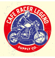 grunge style of cafe racer badge vector image