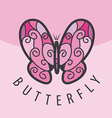 logo pink butterfly on the background vector image