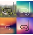 scuba icon on blurred background vector image