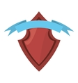 Red shield security ribbon label vector image