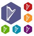 harp icons set vector image
