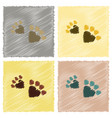 assembly flat shading style icons cat tracks vector image