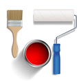 Paint roller brush and a bucket of paint vector image