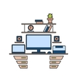 Thin line flat design of workplace Modern vector image vector image
