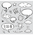 A set of comic bubbles and elements with halftone vector image