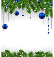 Christmas background with fir branches and balls vector image