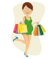 pregnant woman running with shopping bags vector image