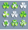 Set of stylized 3d Patricks leaf clover vector image