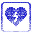 power love heart framed textured icon vector image
