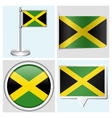 Jamaica flag - sticker button label flagstaff vector image vector image