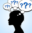 Woman silhouette with question marks vector image