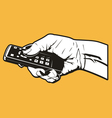 hand with remote control vector image