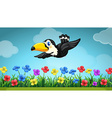 Scene with toucan flying in the garden vector image vector image