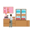 Man Ordering From Cashier In Pink Uniform Smiling vector image