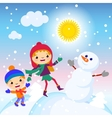 snowman snow card sun design winter decoration vector image