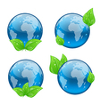 Set icon earth with green leaves isolated on white vector image vector image