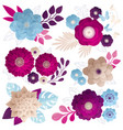 paper flowers compositions colorful set vector image