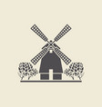 icon windmill with trees vector image