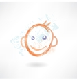 smiling face grunge icon vector image vector image