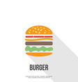 flat design hamburger web icon vector image