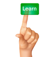 a finger pushing learn button vector image vector image