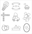 Set ofmono line elements for Valentine Day vector image