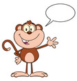 cute monkey cartoon character waving for greeting vector image