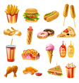 Fast Food Menu Colorful Icons Set vector image