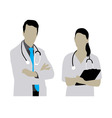 Female and Male Doctor Silhouettes vector image