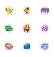 Home furniture icons set pop-art style vector image