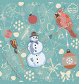 seamless winter pattern with christmas ornaments vector image