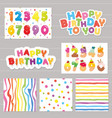 birthday celebration set numbers and patterns vector image