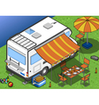 isometric camper in two position vector image vector image