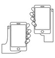 hands with phone set vector image