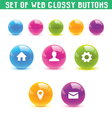 set of web glossy buttons vector image