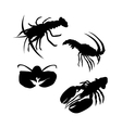 Lobster silhouettes vector image