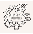 Happy Halloween countour outline doodle Ghost vector image