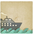 Marine boat on waves old background vector image