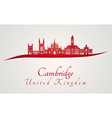 Cambridge skyline in red vector image