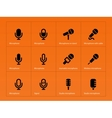 Microphone icons on orange background vector image