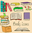 Set of isolated books icons vector image