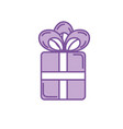 silhouette present gift with ribbon bow design vector image