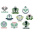 Tennis emblems with equipment and heraldic vector image