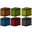 Wooden boxes in different colors vector image