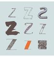 set of colorful alphabet letters Z vector image