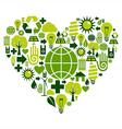 Green heart environmental icons vector image