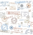 Rubber passport stamps travel symbol vector image