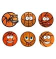 Cartoon happy traditional shaped basketball balls vector image vector image