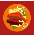 Healthy seafood dinner with fish vector image vector image