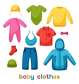 Baby clothes Set of clothing items for newborns vector image vector image